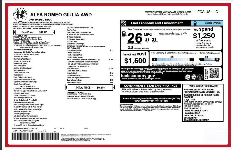 New 2018 Alfa Romeo Giulia    Greenwich, CT