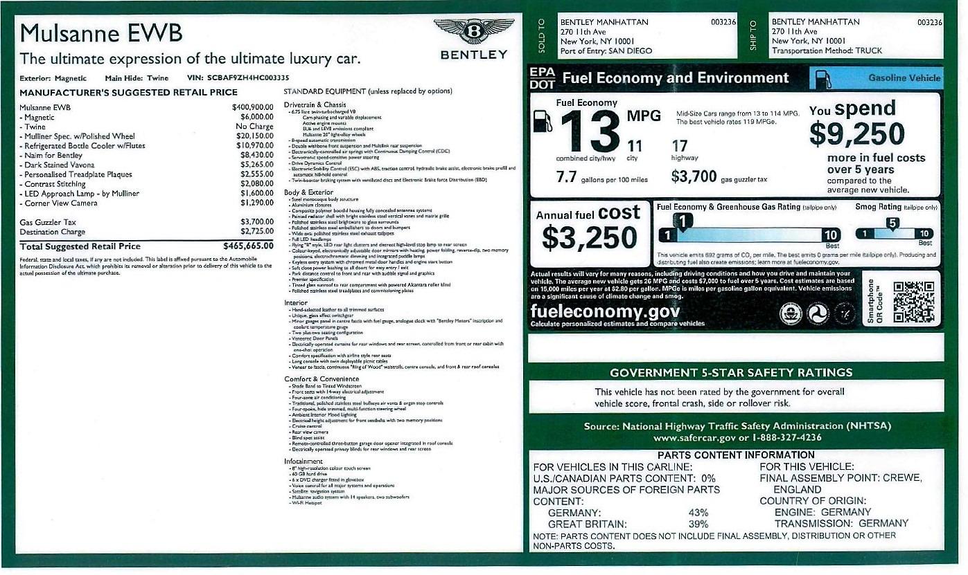 Used 2017 Bentley Mulsanne EWB