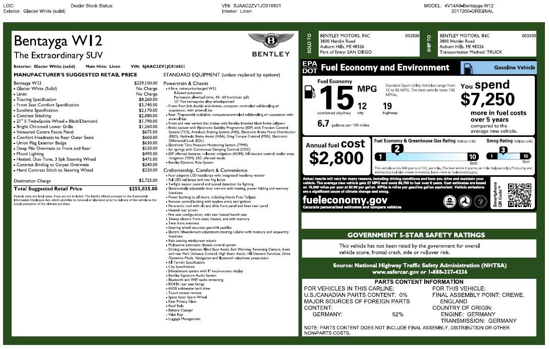 Used 2018 Bentley Bentayga Signature