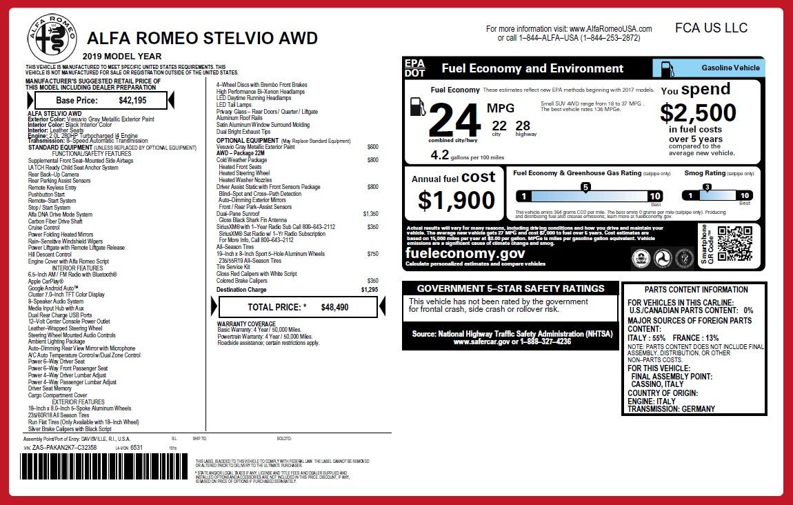 Used 2019 Alfa Romeo Stelvio Q4