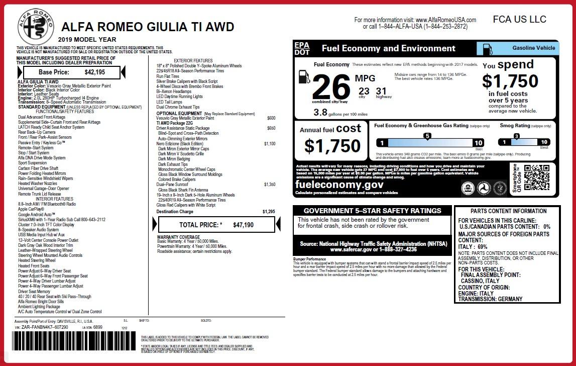 New 2019 Alfa Romeo Giulia Ti Q4