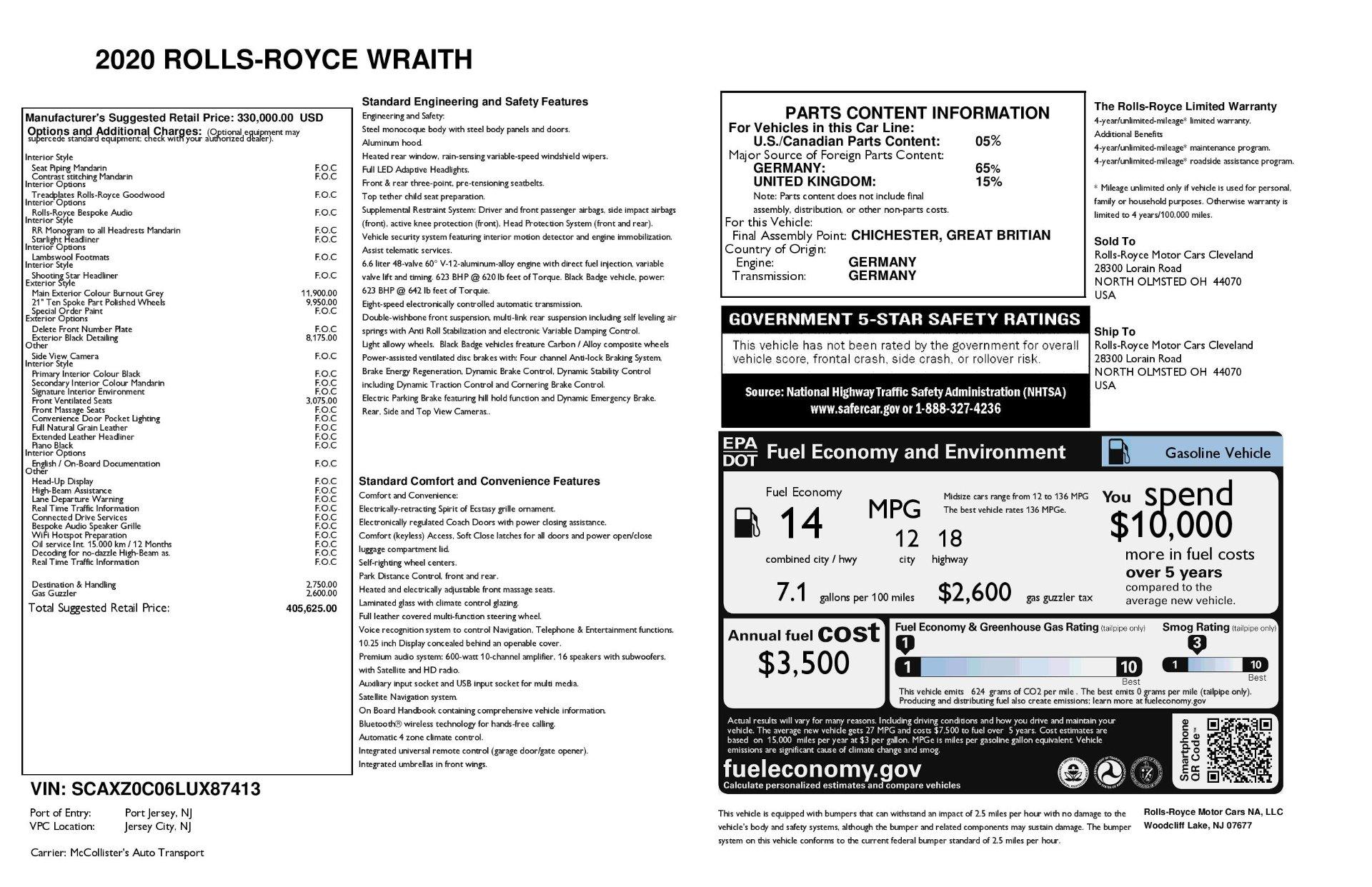 New 2020 Rolls Royce Wraith
