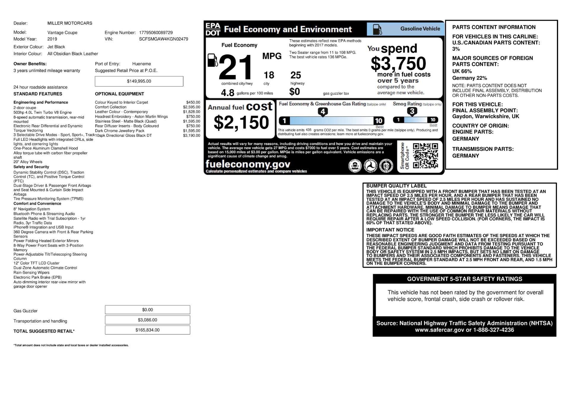 Used 2019 Aston Martin Vantage