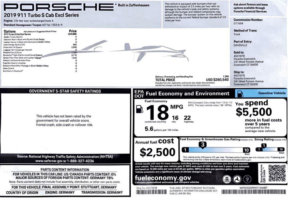 Used 2019 Porsche 911 Turbo S Exclusive