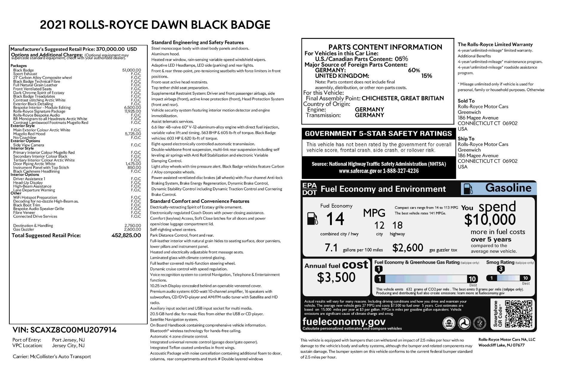 New 2021 Rolls Royce Dawn Black Badge