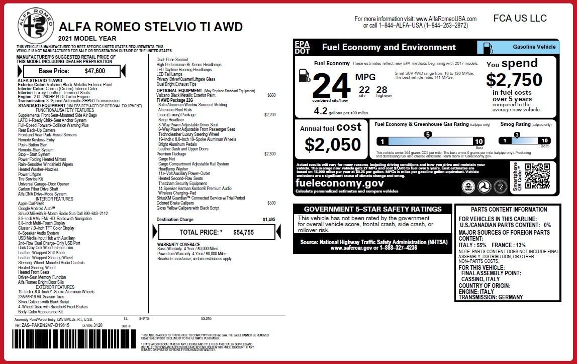 New 2021 Alfa Romeo Stelvio Ti Lusso Q4